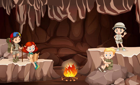 International kids camping in the cave illustration