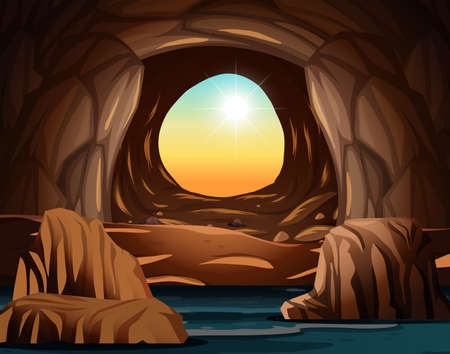 Cave with sunlight opening illustration