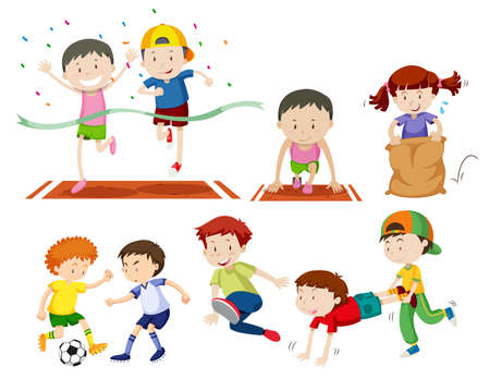 Set of kids doing sport activies illustration