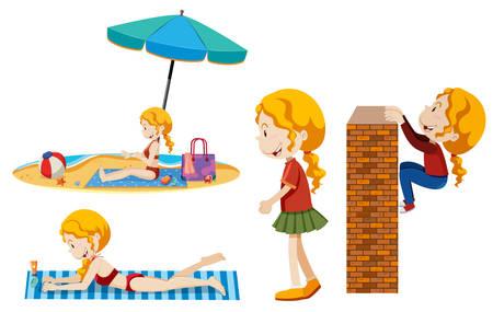 A set of girl summer activity illustration