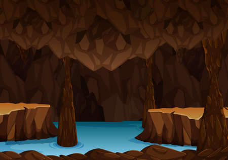 Underground cave with water illustration Illustration