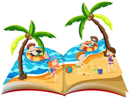 Een pop-up boek met illustratie van de zomervakantie