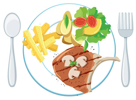 A plate of pork chop chips and salad illustration