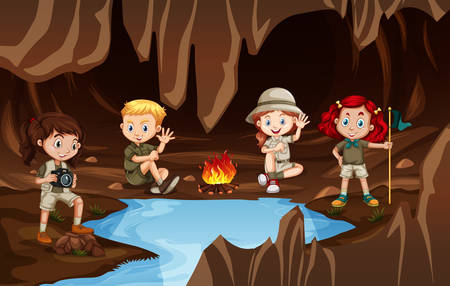 Children having a campire in a cave illustration