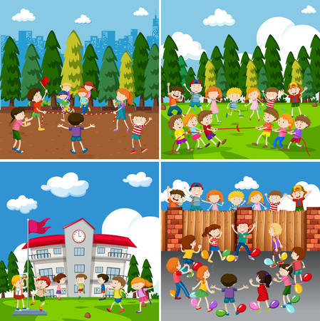 A set of children doing activity illustration Stock Illustratie