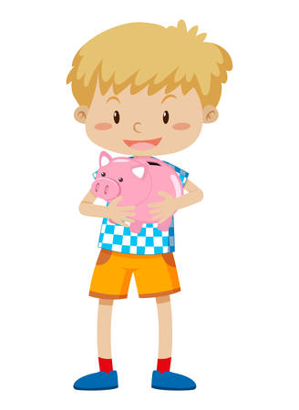 A young boy holding piggy bank illustration