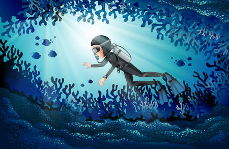 Scuba diving in deep ocean illustration