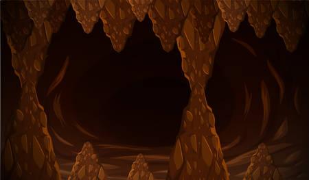 Dark cave formation scene illustration