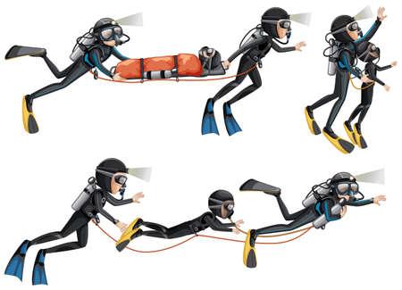 Set of rescue divers illustration