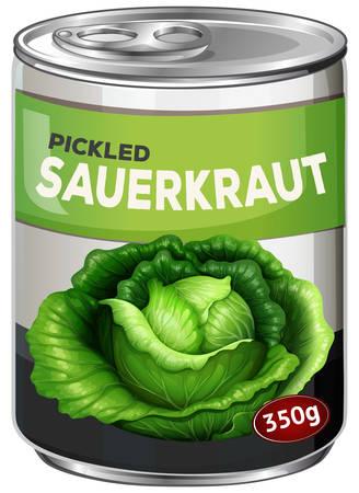 A tine of pickled sauerkraut illustration Illustration