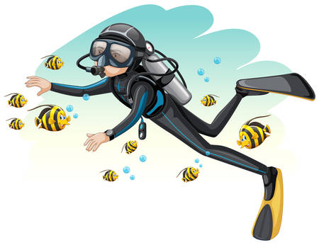 Scuba diver surroded by fish illustration