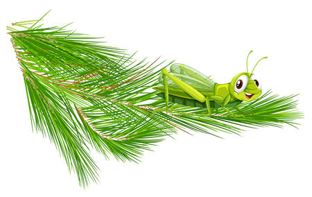 Branch with a happy grasshopper illustration