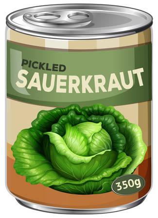 A tin of pickled sauerkraut illustration