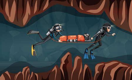 Scena dell'illustrazione di salvataggio del subacqueo Vettoriali