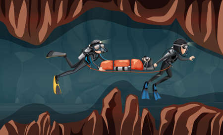 Scene of diver rescue illustration Çizim