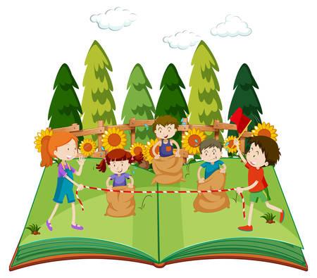 Een pop-upboek met kinderen die zakillustratie springen