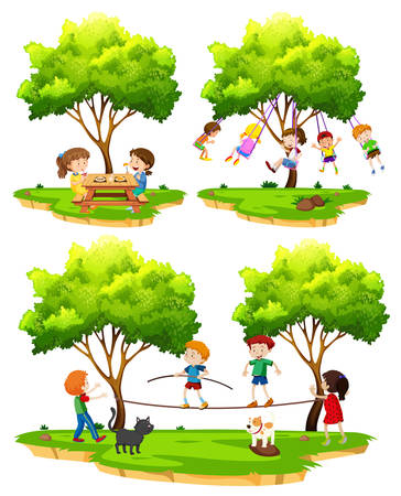 A set of children playing in nature illustration Иллюстрация