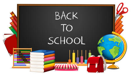 Back to school and elements illustration Stock Illustratie