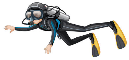 Man scuba diver on white background illustration