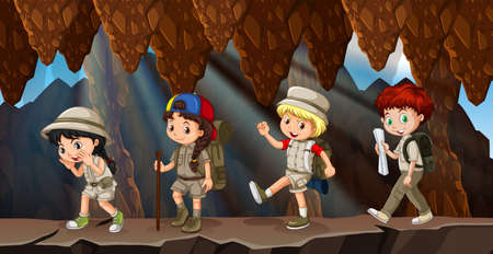 A group of kids hiking in cave illustration