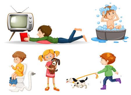 Conjunto de varios niños haciendo actividades de ilustración.