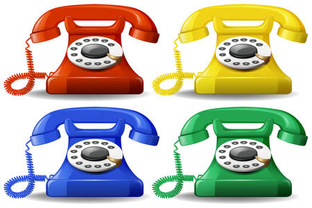 A set of colourful classic telephone illustration