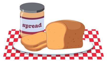 Bread and Peanut Butter Spread illustration