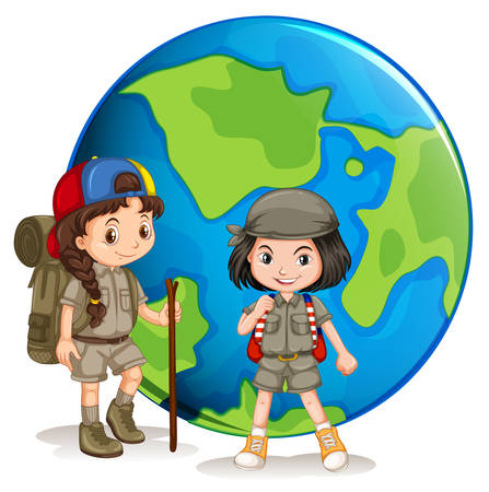 Girl scouts ready for hiking illustration