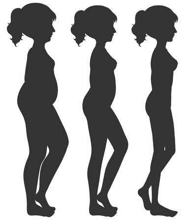 A set of woman body transformation illustration Ilustração