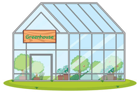 large greenhouse with plants illustration Stock Illustratie
