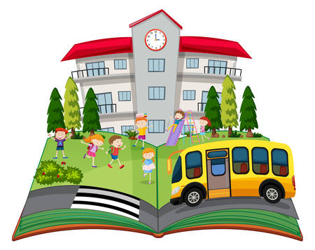 A popup book with children at school illustration