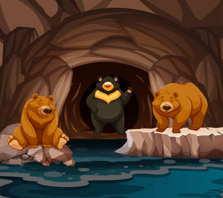 Bears living in the cave illustration Stock Illustratie
