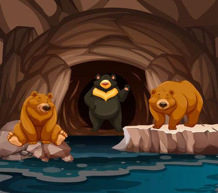 Osos que viven en la ilustración de la cueva.