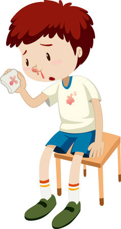 A boy bleeding nose  illustration Vectores