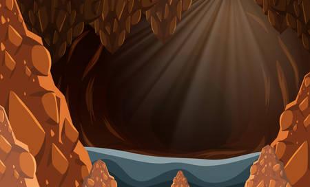 A flooded dark cave illustration