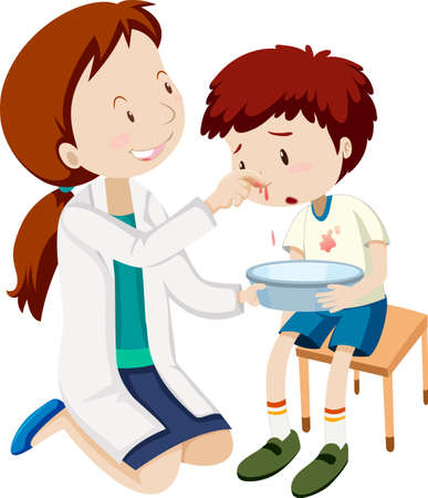A boy bleeding nose  illustration Stock Illustratie