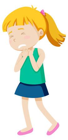 Una niña con dolor de garganta ilustración