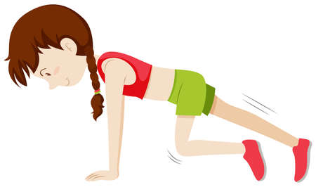 Girl doing leg exercise illustration