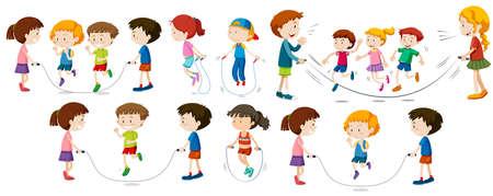 Children doing jump rope illustration