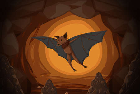 Bat in a cave  illustration Illusztráció