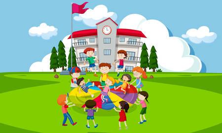 Niños jugando con un paracaídas frente a la ilustración de la escuela.