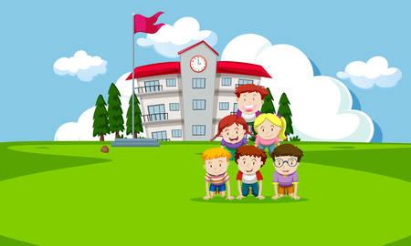 Children playing infront of school illustration 일러스트