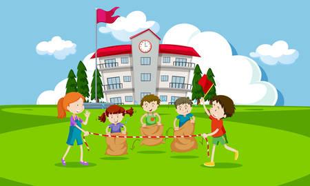 Young children having a potato sack race illustration Vetores