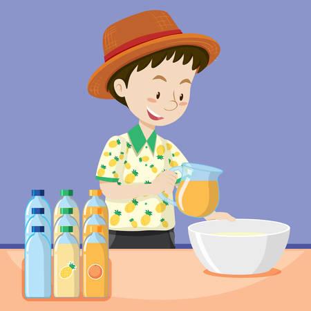 Man making fresh juice illustration