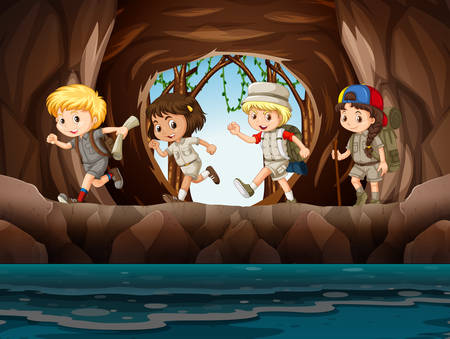 Young child scouts exploring a cave illustration