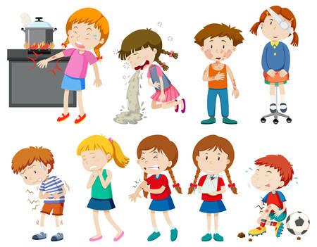 Conjunto de ilustración de niños enfermos y heridos Ilustración de vector