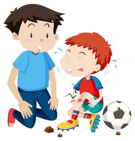 young man helps hurt soccer player illustration Illustration