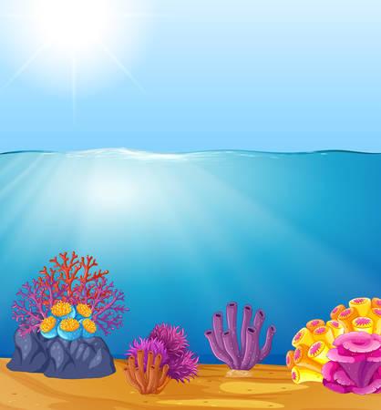 Hermosa ilustración de plantilla de agua profunda Ilustración de vector