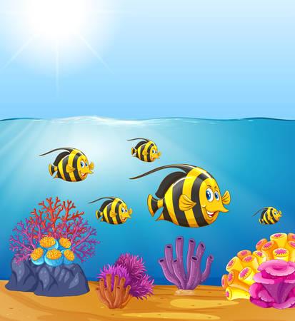 Butterflyfish under the ocean illustration