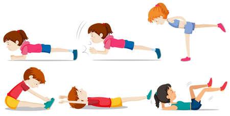 Una serie di illustrazioni per l'allenamento con i pesi